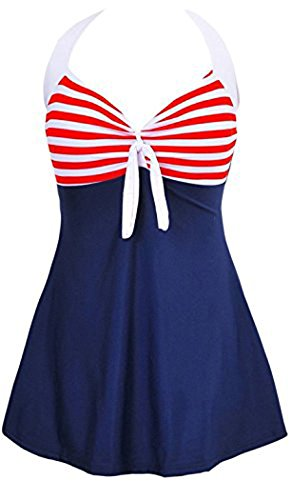 MiYang Vintage Sailor Pin Up Swimsuit One Piece Skirtini Cover Up Swimdress Navy Blue XL (US 16-18)