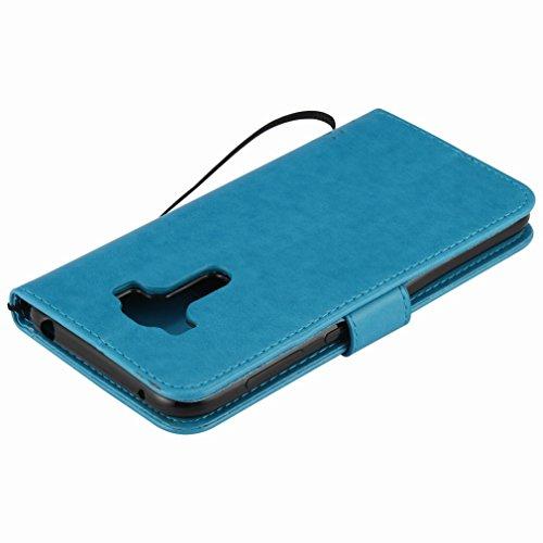 Custodia Asus Zenfone ZD552KL Cover Case, Ougger Alberi Gatto Printing Portafoglio PU Pelle Magnetico Stand Morbido Silicone Flip Bumper Protettivo Gomma Shell Borsa Custodie con Slot per Schede (Azzu