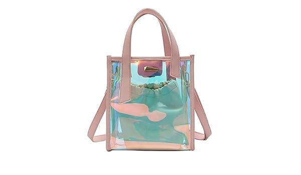 4ffe55712e Amazon.com  LEFTSIDE 2PCS SET Women Transparent Laser PVC Handbag Summer  Bling Bling Beach Bag Female Shoulder Bags Tote Book Bag Color Pink 22cm x  24cm x ...