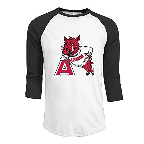 Men's Arkansas Razorbacks College Logo Baseball Tee Classical Sleeve (Arkansas Razorbacks Logos)