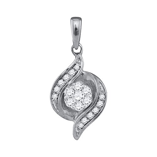 Roy Rose Jewelry 14K White Gold Womens Round Diamond Flower Cluster Pendant 1/5-Carat tw ()
