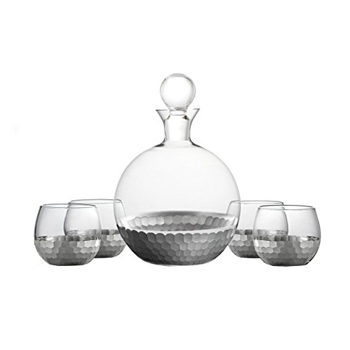 (Fitz and Floyd 229707-5GB Daphne Decanter Set, Platinum)