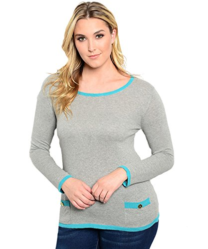 Plus-Size-Grey-Aqua-Plus-Size-Top