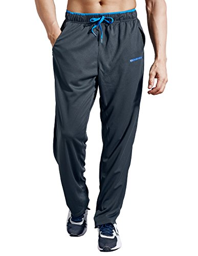 ZENGVEE Athletic Men's Open Bottom Light Weight Jersey Sweatpant with Zipper Pockets for Workout, Gym, Running, Training (Gray,L) ()