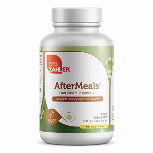 Zahler AfterMeals, Natural Antacid and Digestive Aid, Occasional Acid and Reflux Inhibitor, Certified Kosher, 100 Chewable (Papaya Enzyme 100 Chew)
