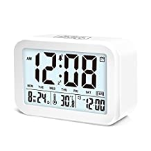 Digital Alarm Clock,JJCall Talking Clock with 3 alarms 7 Sounds Optional Weekday Alarm, Intelligent Noctilucent & Snooze Function, Month/ Date/ Temperature Display Battery Operated Clock. (White)