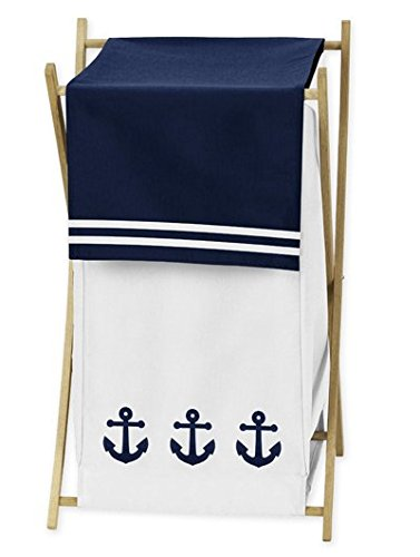 Sweet Jojo Designs Baby/Kids Clothes Laundry Hamper for Anchors Away Nautical Navy and White Bedding