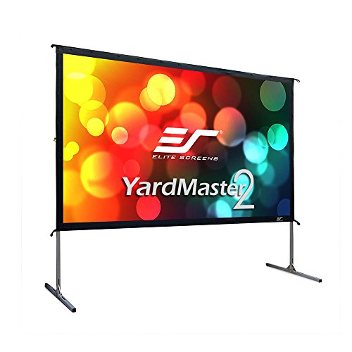 "Elite Screens Yard Master 2, 110-inch Indoor Outdoor Portable Fast Folding Projector Screen with Stand 16:9, 8K 4K Ultra HD 3D Movie Theater Cinema 110"" Foldable Rear Projection Screen, OMS110HR3 ()"