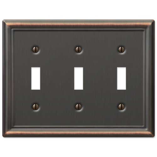 Triple Toggle Wall Switch Plate Cover - Oil Rubbed (Gfi Triple Toggle Switchplate)