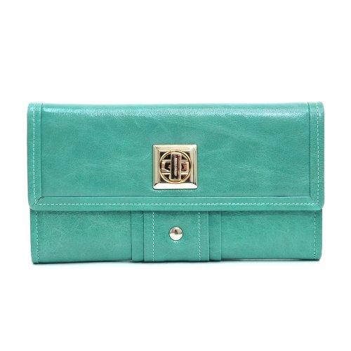 Studded Checkbook Wallet - Anais Gvani Women's Genuine Italian Leather Gold-Studded Checkbook Wallet -Sea Green