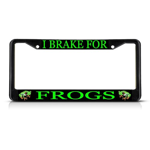 I BRAKE FOR FROGS Black Metal Heavy Duty License Plate Frame Tag (Frog License Plate Frame)