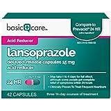 Basic Care Lansoprazole Delayed-Release Capsules 15 mg, Acid Reducer, 42 Count