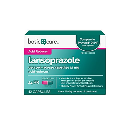 Basic Care Lansoprazole Delayed-Release Capsules 15 mg, Acid Reducer, 42 Count