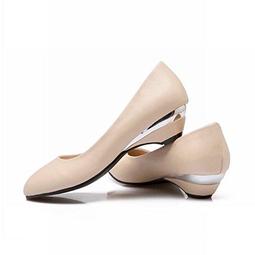 Carolbar Femmes Barbie Lolita Style Manchette Mode Mignonne Robe Douce Bas Talon Mocassins Chaussures Beige