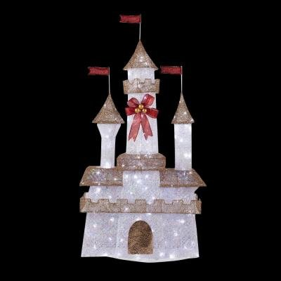 6 ft. Pre-Lit Twinkling Castle Designed for Outdoor Use by Home Accents Holiday