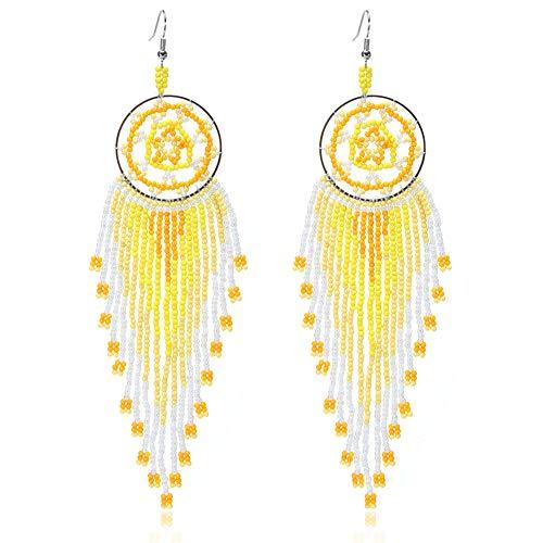 - Royalbeier Beaded Earrings Oversized Handmade Seed Beaded Drop Earrings Long Beaded Navajo Indian Dangle Earrings for Women Ladies (DCE-05)