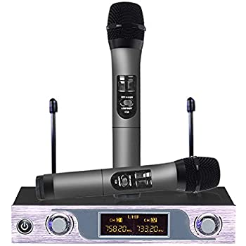 archeer uhf wireless microphone system with lcd display dual channel handheld. Black Bedroom Furniture Sets. Home Design Ideas