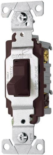 EATON CS320B 20-Amp 120/277-volt Commercial Grade 3-Way Compact Toggle Switch with Side Wiring, Brown Finish -
