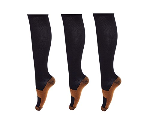 Men & Women Copper Compression Support Socks 20-30 mm Hg (3 Pairs ) (XXL, Black)