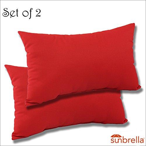 - SET OF 2- 22x12x4 Sunbrella Indoor/Outdoor Fabrics LUMBAR PILLOWS in Flagship Ruby by Comfort Classics Inc.