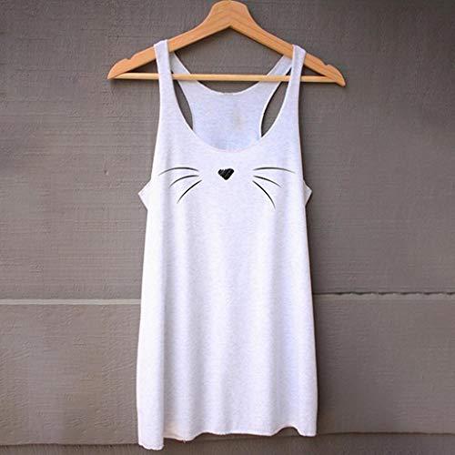 Réservoir Manches Vrac Shirt Souple Confortable Sans De Women Chat Casual Blanc Femme Visage T Hauts Ihengh En Fitness Top 4wq8gq