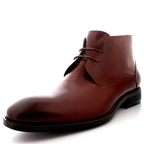 Queensbury Teddy Uomo Stile Britannico Deserto Chukka Mid Cut Caviglia Pelle Pieno Scarpe Stivali Tan