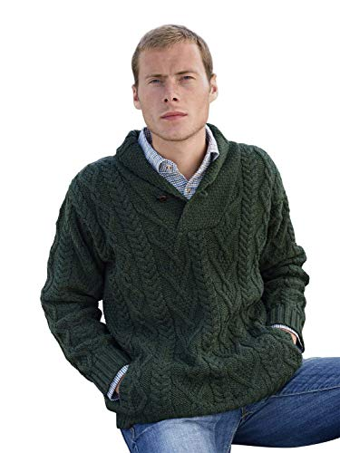 - 100% Irish Merino Wool Shawl Collar Aran Sweater, Army Green, XX-Large