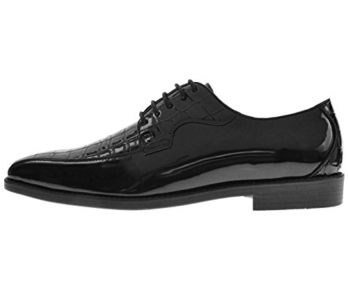Bolano Mens Exotic Faux Crocodile Print and Patent Oxford Dress Shoe In Style Hanner Black X91axZaRR