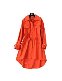 CE-LXYYZ New Orange red Slim mid-Length Irregular Bottom Edge Classic Trench Coat, Large Pocket Female, Autumn