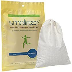 SMELLEZE Reusable Basement Odor Removal Deodorizer Pouch: Rids Musty Smell Without Fragrance in 150 Sq. Ft.