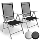MIADOMODO Aluminium Folding Garden Chairs | with Armrests, High Backrest Adjustable in 5 Positions, 2x1 Thread | Recliner Chair Outdoor Camping Furniture Comfortable Seating (Set of 2, Light Grey)
