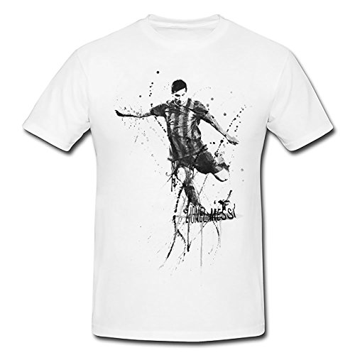 Lionel-Messi-FC-Barcelona T-Shirt Mädchen Frauen, weiß mit Aufdruck