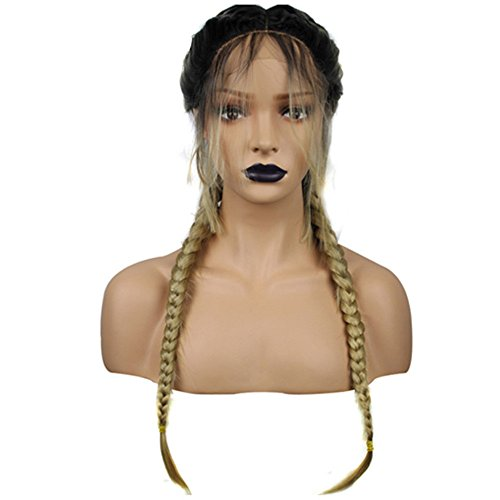 Synthetic Baby Hair Braided Double Lace Front Wig Long Black Ombre Black Wigs - Long Tinsel Wig