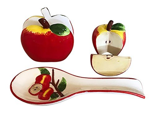 Apple Kitchen Decor Collection, Salt and Pepper Shaker Set, Spoon Rest and Napkin Holder Bundle