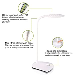 LED Table Desk Lamp, Modern Stylish USB Port with Third Gear Touch Control LED Desk Lamp for Kids LED Eye Lamp Brightness Adjustable, Small Table Lights
