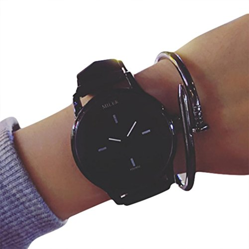 Lovers' Simple Watch, SINMA Fashion Solid Color Wrist Watch PU Leather Bracelet Analog Quartz Wristwatch (Black)