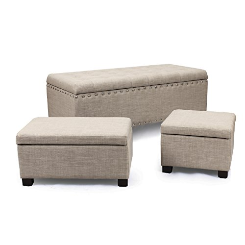 Homebeez Bonded Fabric Tufted Accents Rectangular Storage Bench Ottoman Footstool,set of 3 (Rusty-Brown)