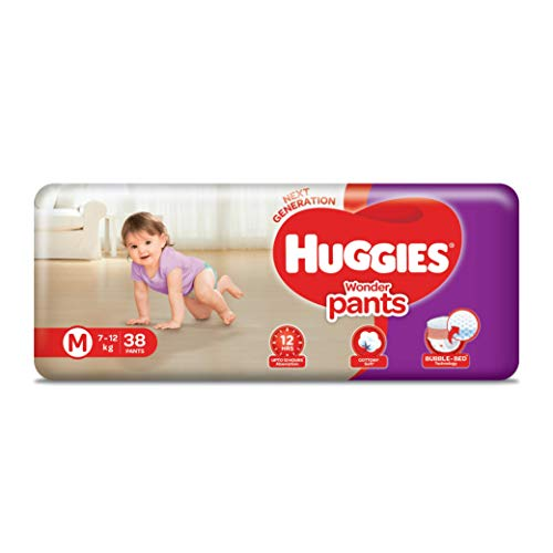 Huggies Wonder Pants Medium  M  Size Baby Diaper Pants, with Bubble Bed Technology for comfort,  7.0 kg   12.0 kg   38 count