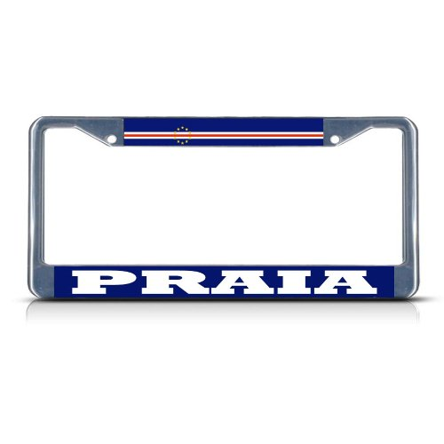 (Sign Destination Metal License Plate Frame Solid Insert Cape Verde Praia Car Auto Tag Holder - Chrome 2 Holes, Set of 2)