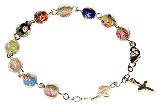 (Child Rosary Bracelet made with Multi-colored Floral Glass & Swarovski Crystal Element (Communion & more))