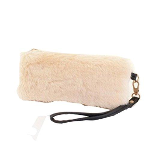 Tongshi Nueva mujeres calientes bolso bandolera peluche bolso bolso de mano cartera Beige