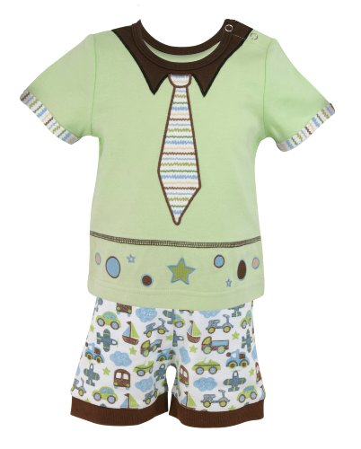 Embellished Appliqued (Stephan Baby Going Places Infant Boy Top and Diaper Cover, 12 Months)