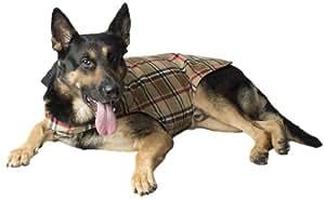 Legitimutt Reversible Scottish Plaid Fleece Dog Coat, Size 16, Camel Plaid