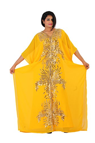 Leena Dubai Very Fancy Kaftan Luxury Crystal Beaded Caftan Abaya Wedding Dress (XL Yellow) by Leena