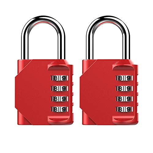 Puroma 2 Pack Combination Lock 4 Digit Padlock for School Gym Locker,Sports Locker,Fence,Toolbox,Case,Hasp Storage (Red) by Puroma