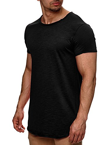S!RPREME Herren T-Shirt Kurzarm Basic Longshirt Oversize Slim Fit Schwarz M