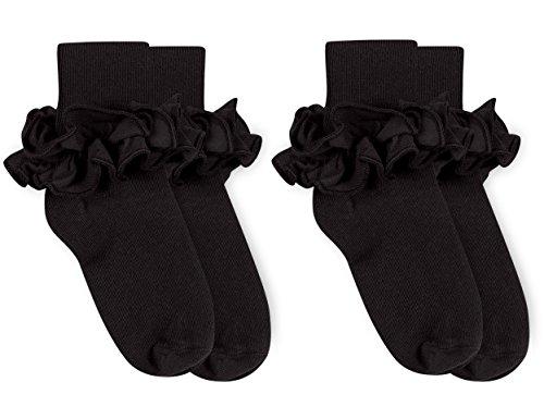 Jefferies Socks Girls Misty Ruffle Turn Cuff Socks 2 Pair Pack (S - USA Shoe 9-1 - Age 3-7 Years, Black) - Lightweight Cuff Socks