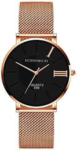 Winsopee Rose Gold Slim Quartz Watch for Women Luxury New Fashion Casual Ladies Watch(Black)