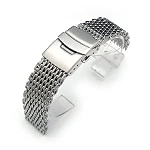 """19mm Ploprof 316 Reform Stainless Steel """"SHARK"""" Mesh Milanese Watch Band, Brushed, AA"""