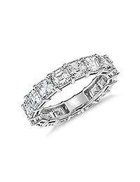 NYC Sterling Sterling Silver Luxury Womens 5mm Asscher Cut Luxury Eternity Ring